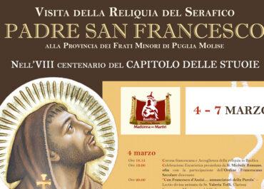 """Dal 4 al 7 marzo 2021, peregrinatio della reliquia di San Francesco presso la Basilica """"Madonna dei Martiri"""""""